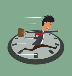 cartoon businessman running on clock jumps over vector image