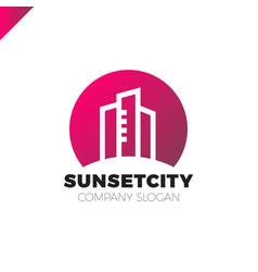 City in sun icon logo design element vector
