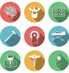 Colored icons for neurology vector