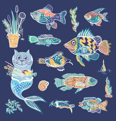 creative sea life set vector image vector image
