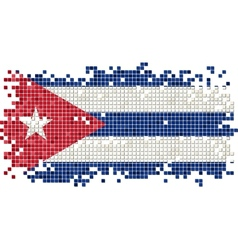 Cuban grunge tile flag vector