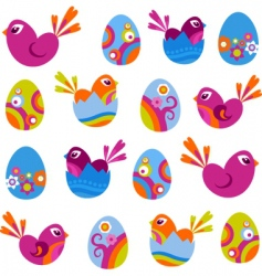 Easter eggs and birds vector