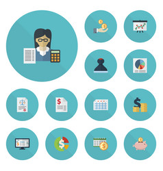 flat icons tactics pie bar accounting system and vector image vector image