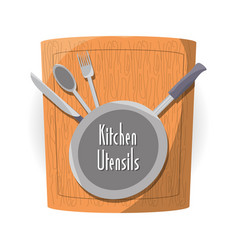 Flat kitchen utensils and cutting board vector