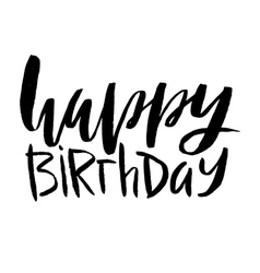 Happy birthday lettering inscription isolated on vector