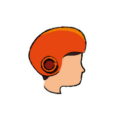 Head human with helmet motorcycle vector