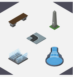 Isometric street set of bench dc memorial vector