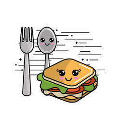 Kawaii sandwich icon with beautiful expressions vector