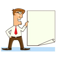 Office worker holding paper for text vector image vector image