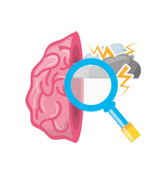 Open brain with cloud thunder and magnifying glass vector