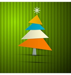 Paper Christmas Tree on Retro Green Background vector image vector image