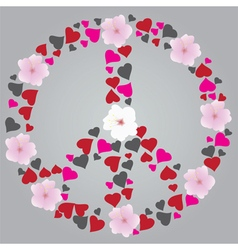 Peace sign floral vector