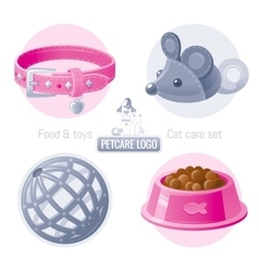 Pet care icon set on white background vector image vector image