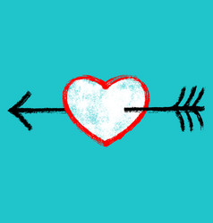 Red heart with black arrow vector