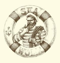 Sailor graphic portrait vector
