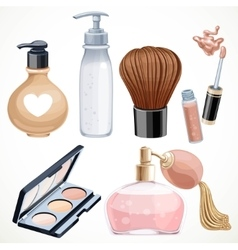 Set of cosmetics objects shadow brush perfume vector image