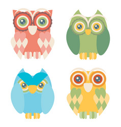 set of four owls isolated on white background vector image vector image