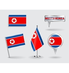 Set of north korean pin icon and map pointer vector