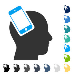 Smartphone head integration icon vector