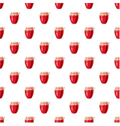 strawberry jam glass jar pattern vector image