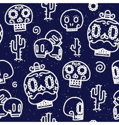 Sugar skulls seamless pattern vector image