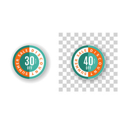 Summer sale sticker 30 and 40 percent discount vector