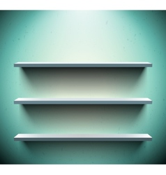 Three shelves on blue wall vector image vector image