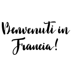 Welcome to france print in italian vector