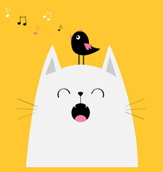 White cat face silhouette bird on head meowing vector