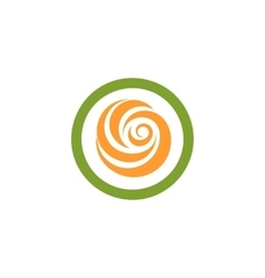 Isolated abstract green and orange color round vector
