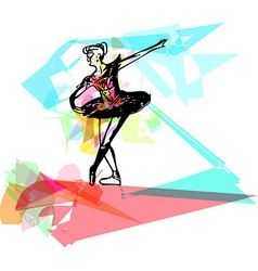 Drawing of abstract ballerina dancing vector