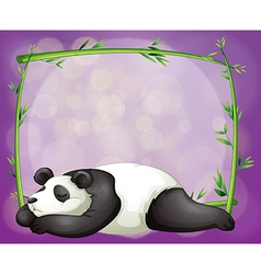 A stationery with a bamboo frame and a panda vector