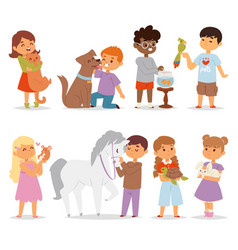 Toddler cartoon kids characters petting little pet vector