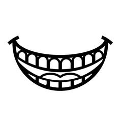 Big happy toothy cartoon smile icon vector