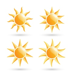 Three suns icons with shadow isolated on white vector