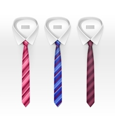 Set of tied striped colored silk and bow ties vector