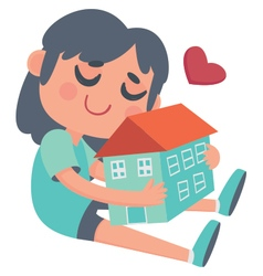 Girl hugging a house vector