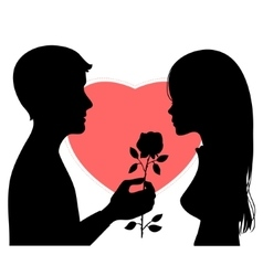 Black silhouette of young couple on red heart vector