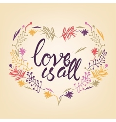 Love is all typography vector