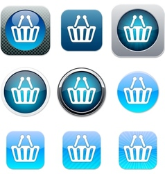 Shopping cart blue app icons vector image