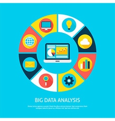 Big data analysis flat infographic concept vector