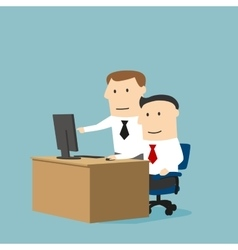 Business collegues working together using computer vector
