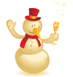 Snowman with wineglass gold vector image