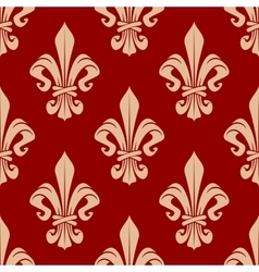 Beige and red seamless fleur-de-lis pattern vector