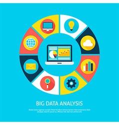 Big data analysis flat infographic concept vector