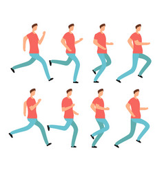 cartoon running man in casual clothes young male vector image vector image