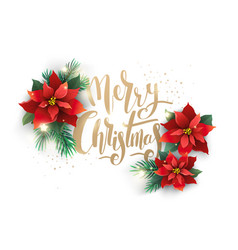 christmas tree and flower decoration isolated vector image