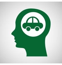 Eco silhouette green head vehicle vector