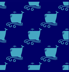 Funny whale seamless pattern vector