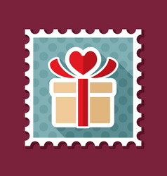 gift box sign stamp present heart love symbol vector image vector image